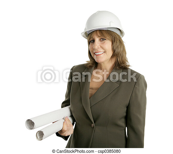 Female Engineer with Blueprints - csp0385080