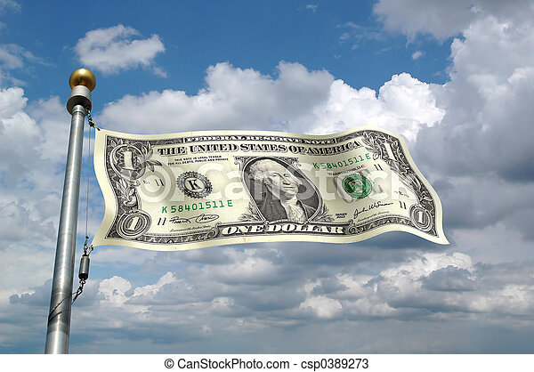 Dollar Bill as Flag - csp0389273