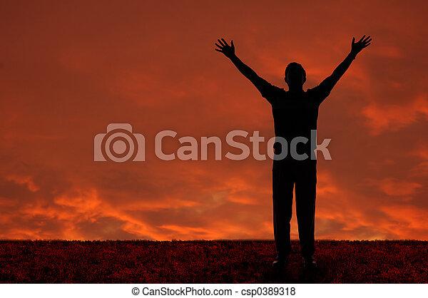 extendido, brazos, hombre - csp0389318