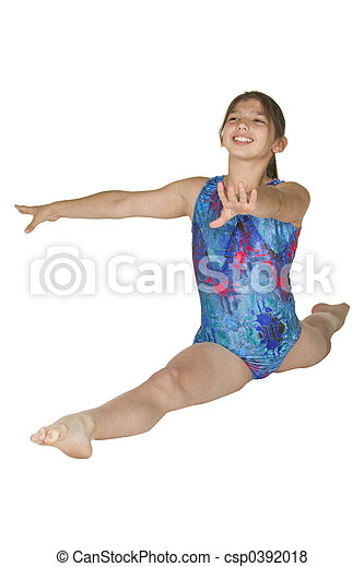 12 year old girl in gymnastics poses - csp0392018