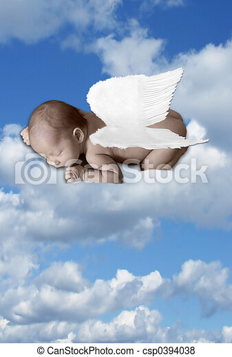 Baby Infant In Clouds With Wings - csp0394038