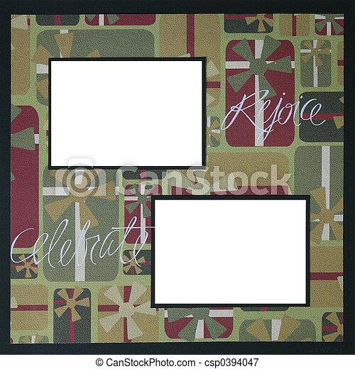 álbum de recortes, marco, navidad, plantilla - csp0394047