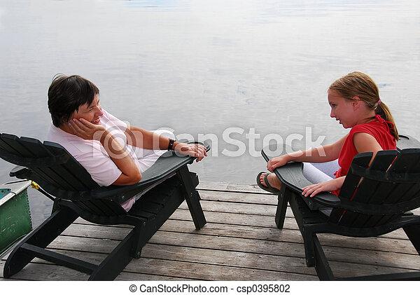 Family on dock - csp0395802