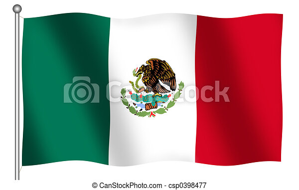 Flag of Mexico Waving - csp0398477