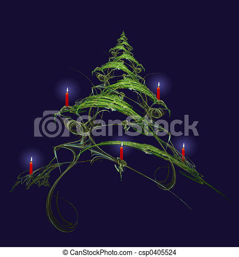 Christmas Tree Decorated With Candles - csp0405524