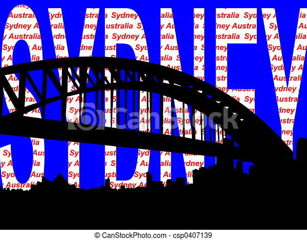 Sydney harbour bridge illustration - csp0407139