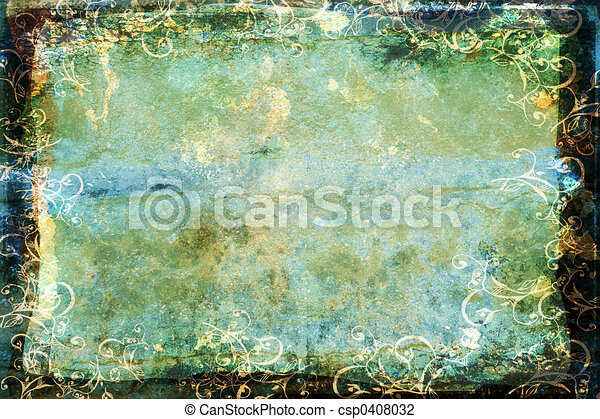 grunge blue-green background with swirl border - csp0408032