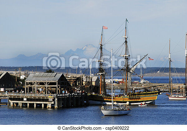 Lady Washington in port - csp0409222