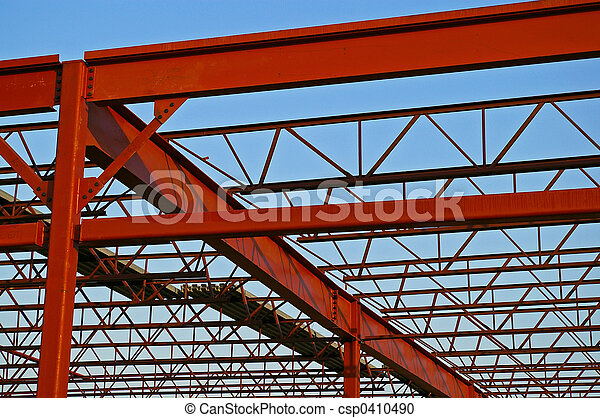 Stock photography of steel roof trusses open web for Open web trusses