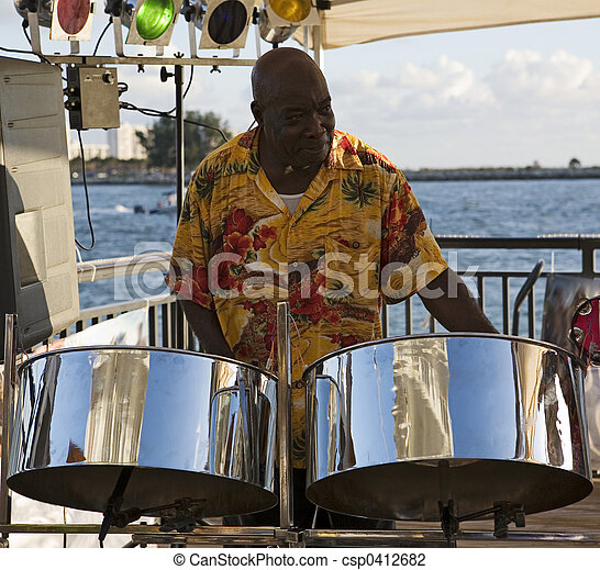 Musician On Steel Drums - csp0412682