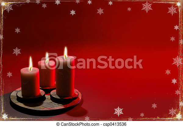 Christmas Background With Three Candles - csp0413536