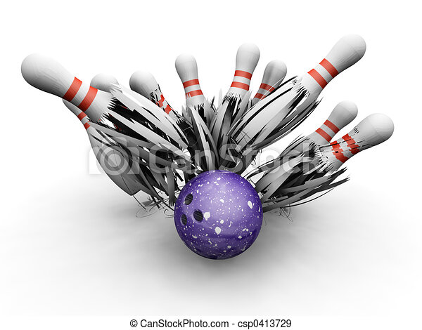 Bowling ball smashing into pins - csp0413729
