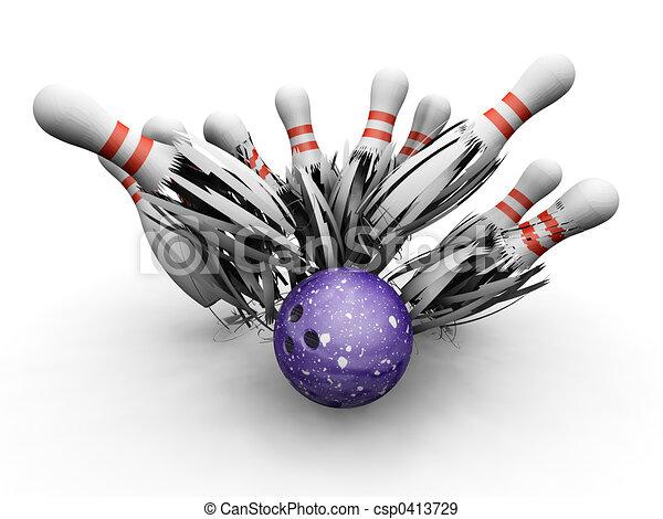 Bowling ball smashing into pins - csp0413729