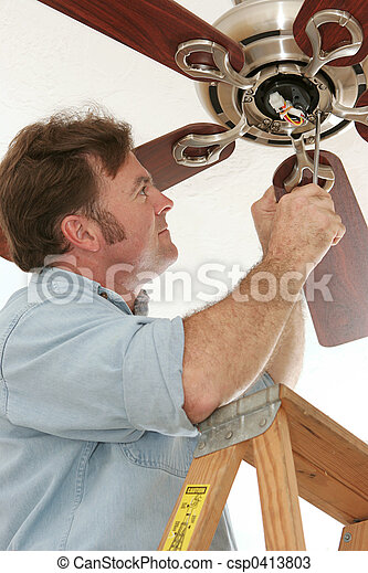 Electrician Installing Ceiling Fan - csp0413803