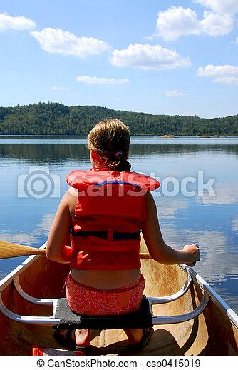 Child in canoe - csp0415019