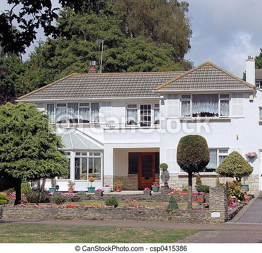 Image de maison anglaise agr able urbain banlieue d tach csp041538 - Photo maison anglaise ...