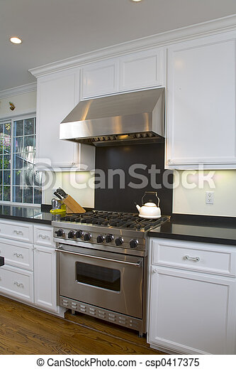 Newly Remodeled White Kitchen - csp0417375