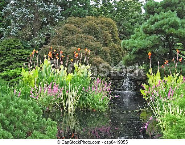Stock beelden van 2 tuin waterval waterval empties for Japanese pond plants