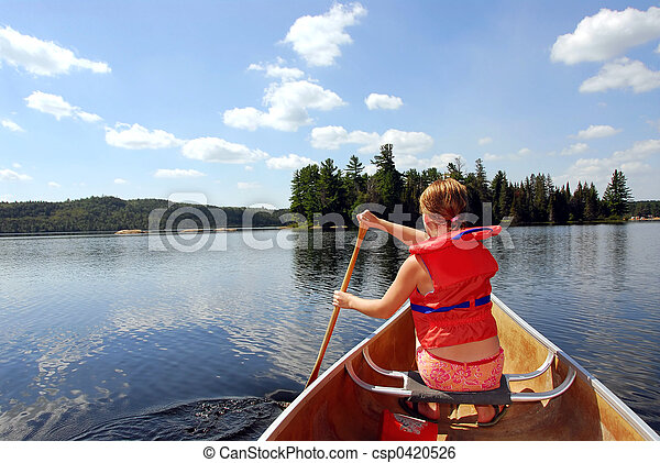 Child in canoe - csp0420526