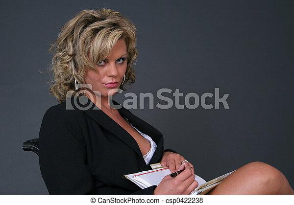 secretária, trabalhando - csp0422238