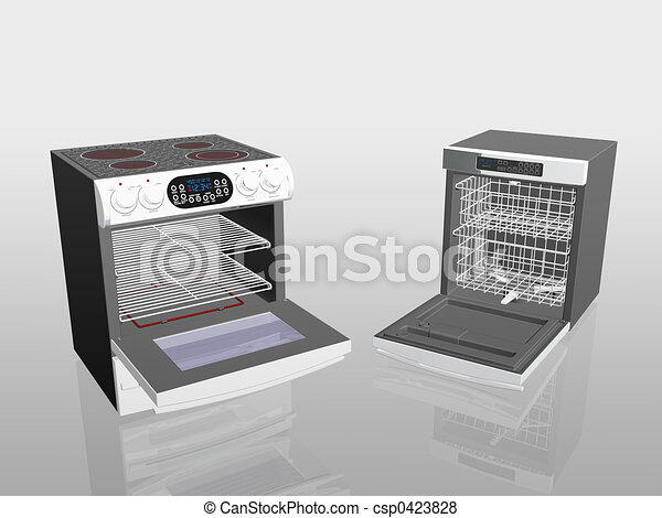 Household appliances, cooker, stove, dish washer. - csp0423828