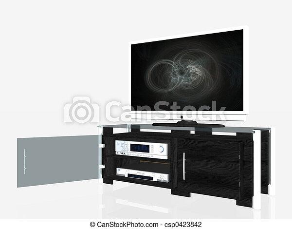 Media center, plasma screen  - csp0423842