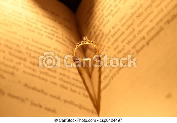 wedding ring in book - csp0424497