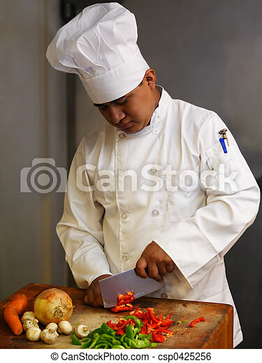 Stock Image of Chef Cutting Vegetables - chef cutting ...
