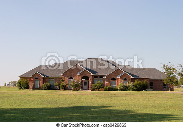 Modern Large Ranch Style Brick House - csp0429863