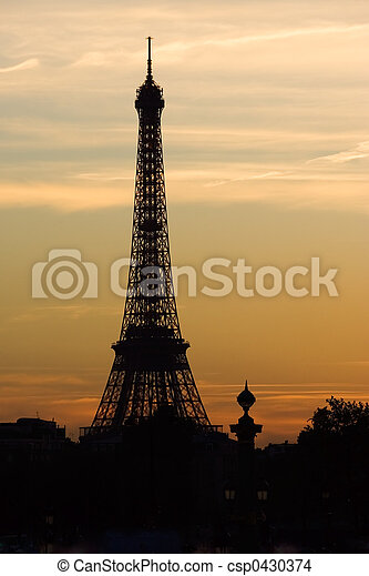 Sunset on the Eiffel tower - csp0430374