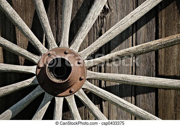 Stock Images of Wooden Wagon Wheel - Old wooden wagon wheel ...