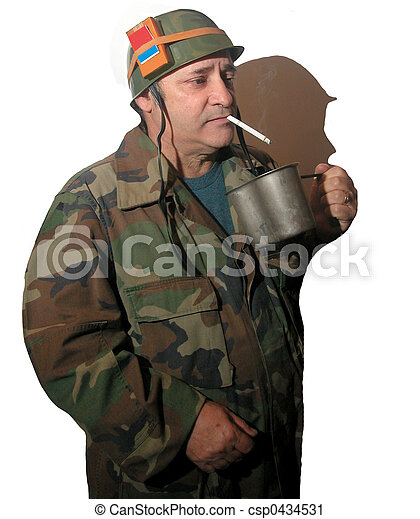 Holding a canteen cup - csp0434531