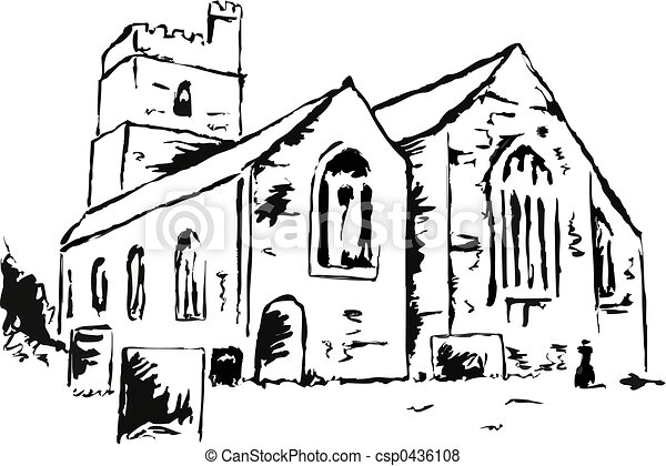Church Line Drawing Church Line Drawing of an
