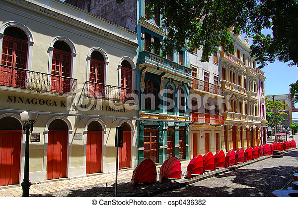 Old Recife, faade of the historical center - csp0436382