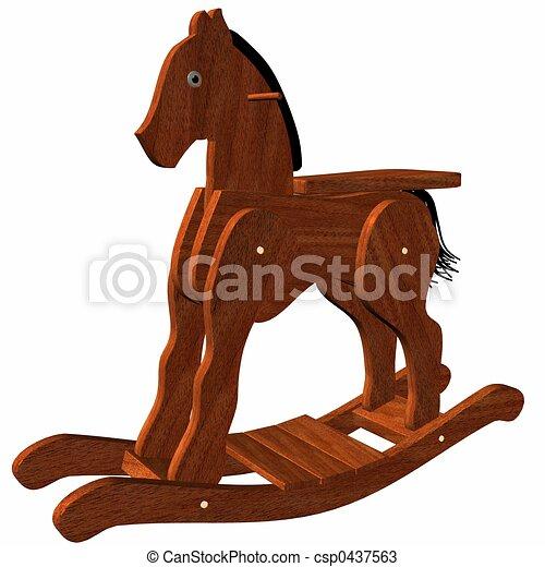 madeira, balanço, cavalo - csp0437563