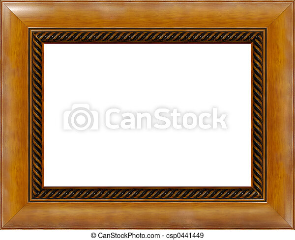 Antique light polished wooden picture frame isolated - csp0441449