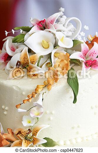 torta, fiori, matrimonio - csp0447623