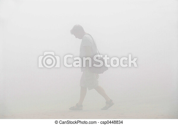 Man walking in a fog - csp0448834