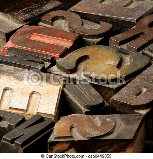 Old wooden type lett - csp0449053