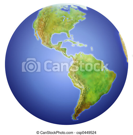 Earth showing North, Central, and South America. - csp0449524