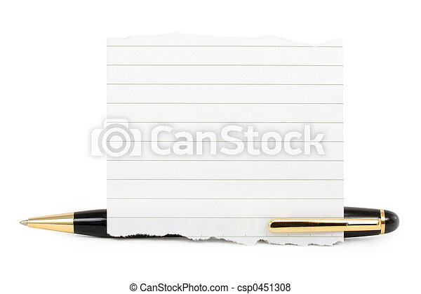 blank notepaper stick on a pen - csp0451308