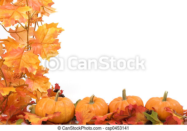 Pumpkins with fall leaves - csp0453141