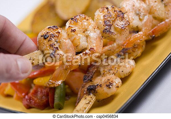 prawns on a skewer - csp0456834