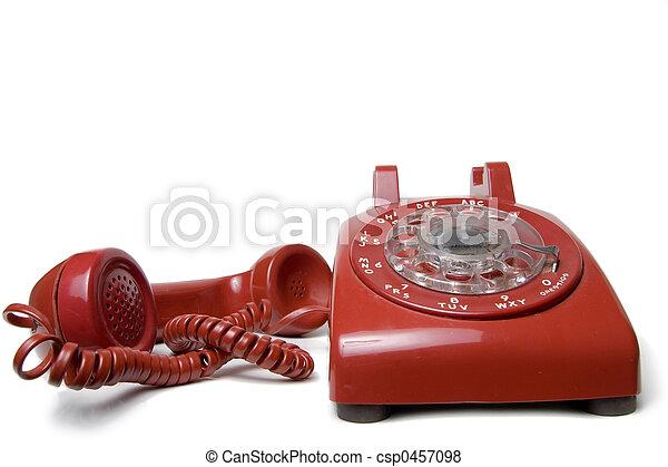 Red rotary telephone - csp0457098