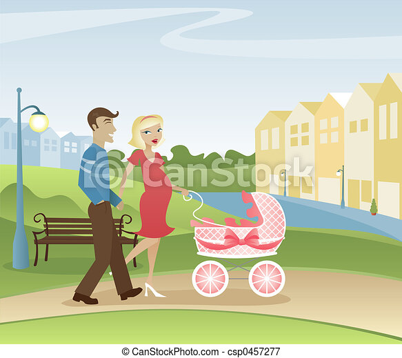 Parents Strolling in the Park - csp0457277