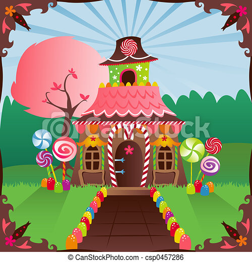 Candy House Drawing Gingerbread House Colorful