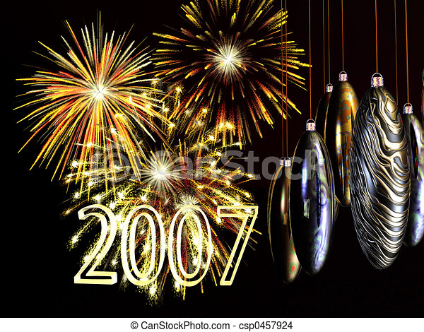 Drawing of Xmas, new years card, fireworks with baubles on wire ...