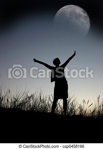 praying to the moon, - csp0458166