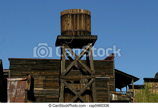 Stock Image of Old West Water Tower - Wooden Water Tower in an Old ...