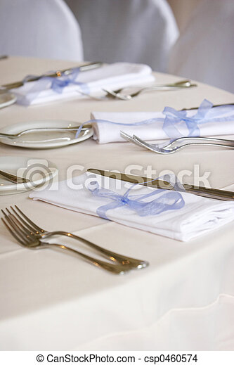 Dining table set for a wedding or corporate event - csp0460574